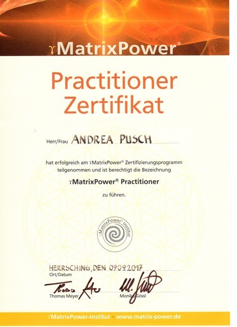 Zertifikat MatrixPower Practitioner